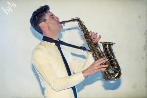 DJ met saxofonist boeken visual 1